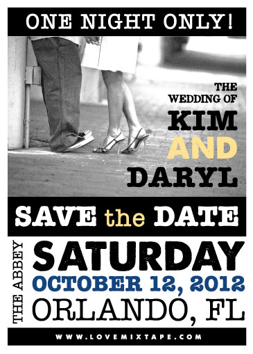 Rock Out on Your Save the Date Try Kim Daryls Concert Poster